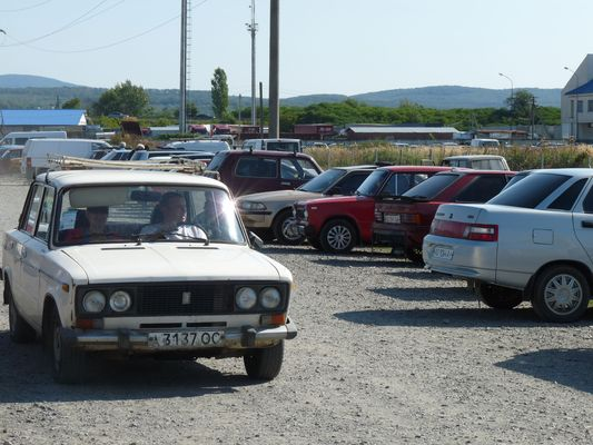 old Lada car in Uzgorod