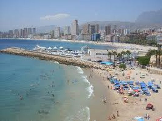 Benidorm beach and skyscrapers, Valencia, Spain