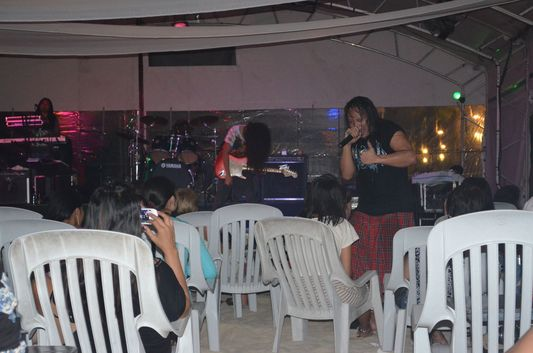 Boss Band Boracay singer during live concert on Boracay island