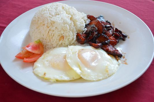 Filipino breakfast in the President Hotel, Dagupan, Pangasinan, Philippines;