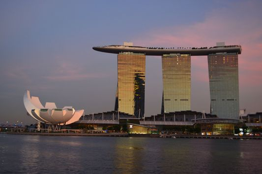 Marina Bay Sands hotel at sunset time in Singapore