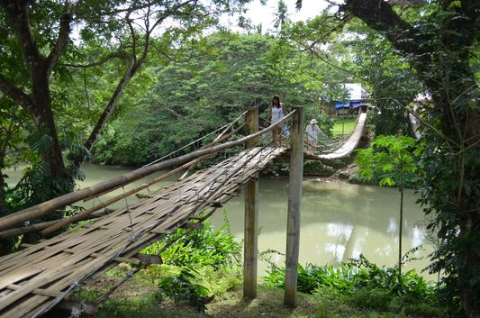 Hanging Bridge in Bohol over Loboc river