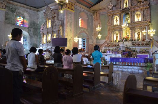 inside Baclayon church in Bohol