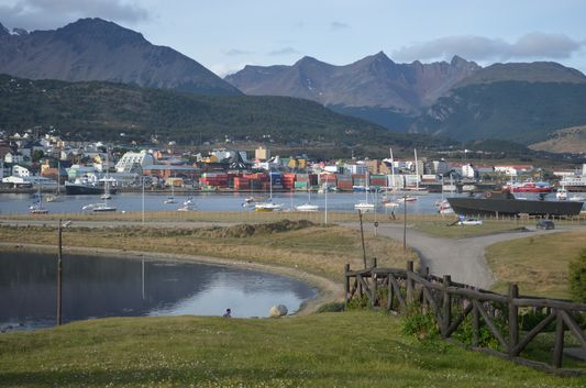 Laguna Encerrada on the left with Ushuaia port on the right