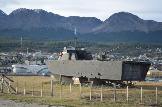 a Navy boat in Ushuaia port