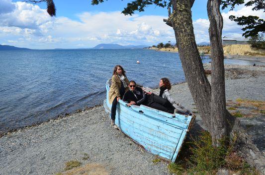 enjoying Lago Fagnano with my friends