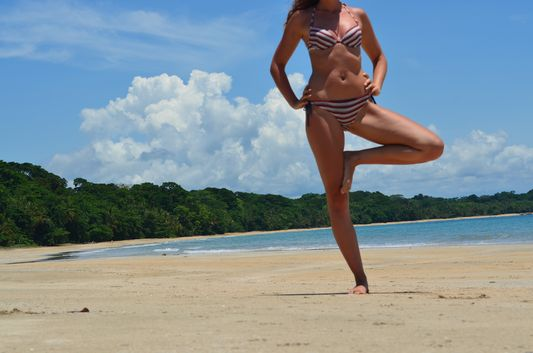 a bit of stretching at Manzanillo beach