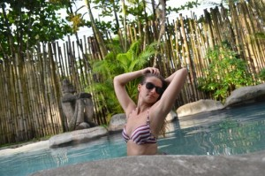 enjoying swimming pool in Totem Hotel Beach Resort in Costa Rica