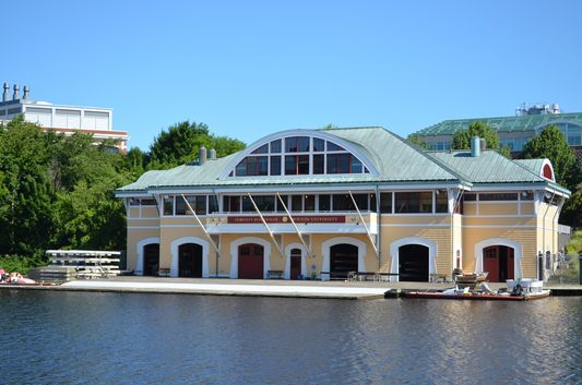 Boston University Boathouse on the Cambridge Side