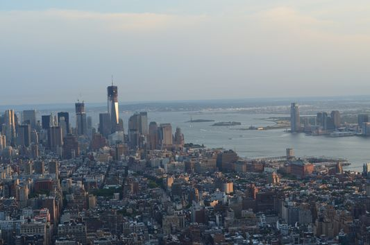 Financial District, Statue of Liberty and Ellis Island from EmpireState Building
