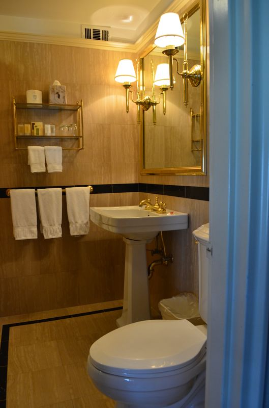 bathroom in my room in Hotel Elysee
