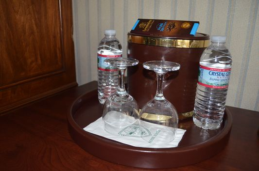complimentary water in Elysee hotel