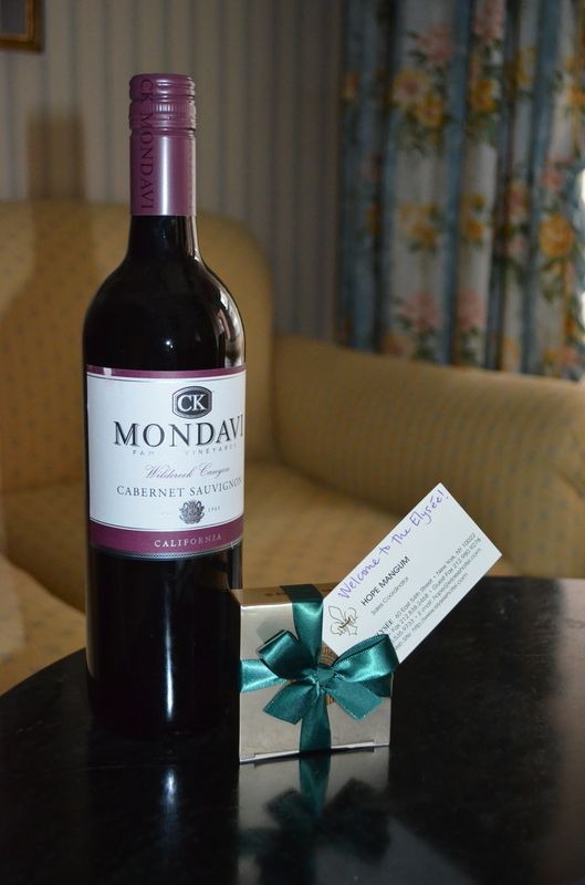 complimentary wine and Leonidas chocolate in Hotel Elysee