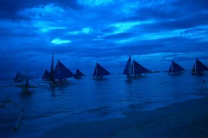 BLUE after sunset in Boracay in the Philippines