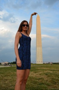 crazy sexy fun traveler with Washington National Monument