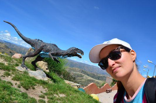 crazy sexy fun traveler in Cretaceous Park in Sucre