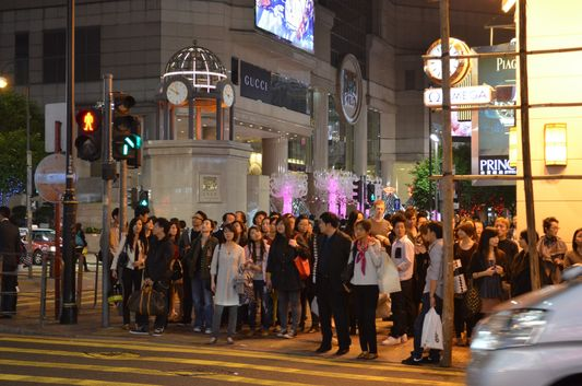 crowds at Hong Kong streets