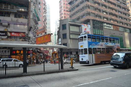 double decker tram in Hong Kong
