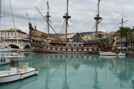old ship replica in Genoa old harbour