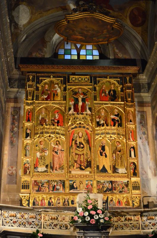 polyptych by Giovanni Canavesio inside of San Michele church