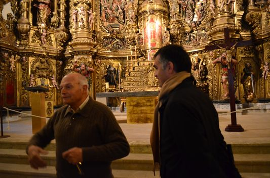 Stefano with the Mayor explaining us the history of Santa Maria church