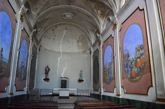 beautiful colourful paintings on the walls of Saint Maurice church