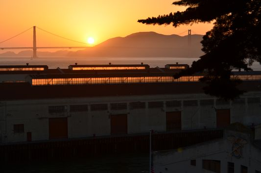 Sunset above Golden Gate Bridge from Fort Mason