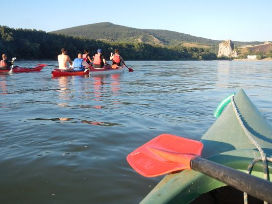 canoeing towards the Devin castle ruins