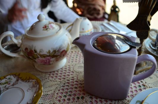 enjoying tea time in Lovejoy's Tea Room
