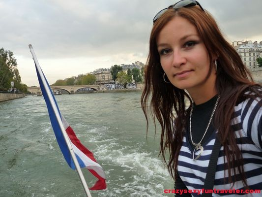 on a boat ride in Paris