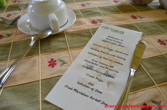 our afternoon tea menu at Nirvana restaurant