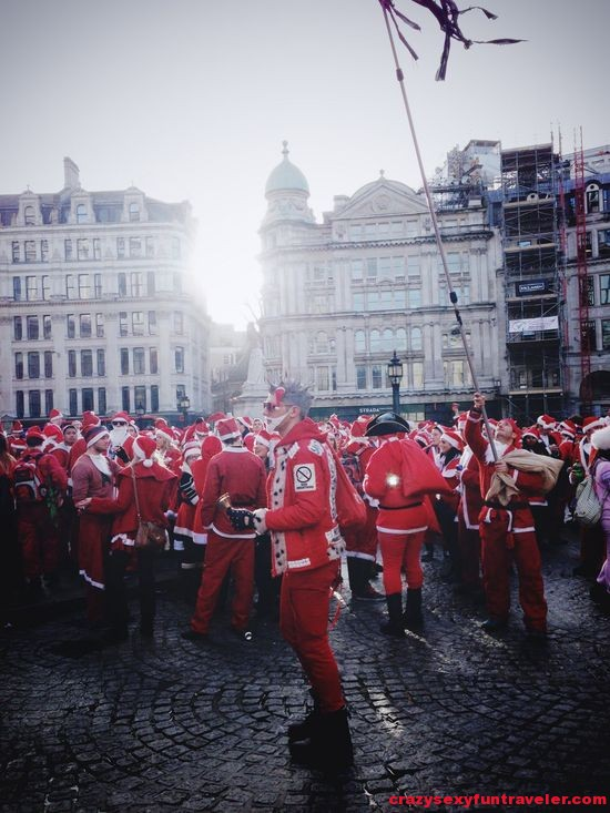 Santacon gathering of Santas in London