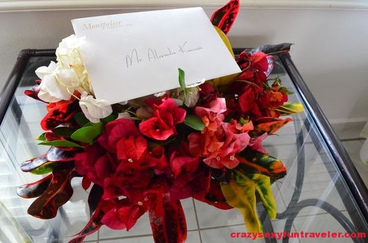 flowers and a welcome note waiting for me at Montpelier plantation