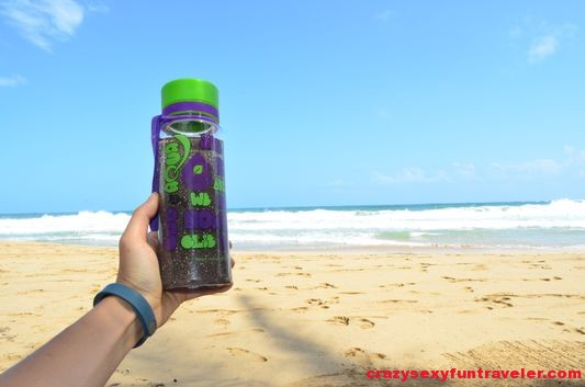 with My Equa BPA-free bottle on Red Frog Beach Bastimentos