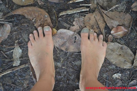 walking barefoot in the jungle in Costa Rica