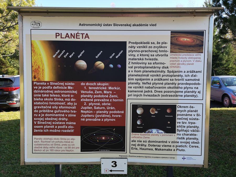 o planetach Astronomicky naucny chodnik Stara Lesna