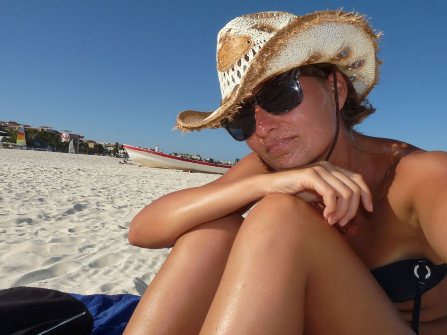 na plazi v Playa del Carmen