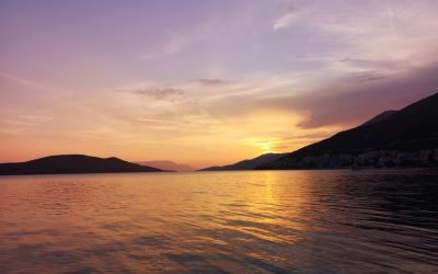 violet sunset Neum Bosnia and Herzegovina