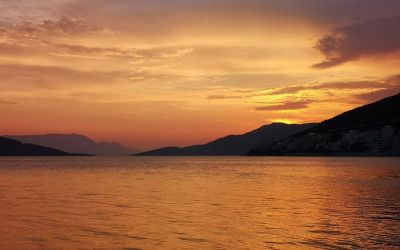 orange sunset Neum Bosnia and Herzegovina