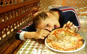 me eating pizza