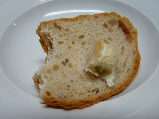 bread with garlic and salt at Christmas dinner
