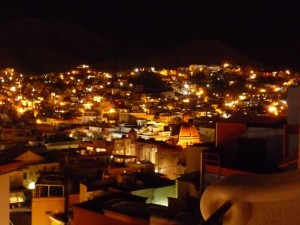 night view of Guanajuato from Casa Dionisio