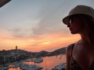 sunset in the port of Acapulco
