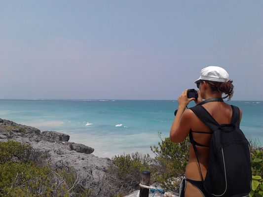 Tulum beach from top of the cliff