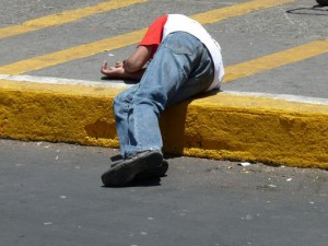 sleeping on the ground in Mexico City
