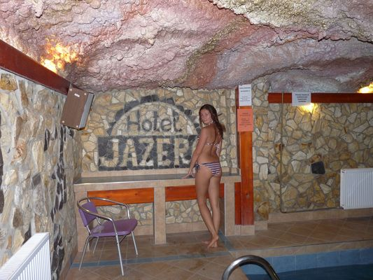 crazy sexy fun traveler in Hotel Jazero pool, Vinne lake, Slovakia