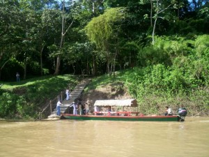 on boat lancha at Usumacinta river to Yaxchilan