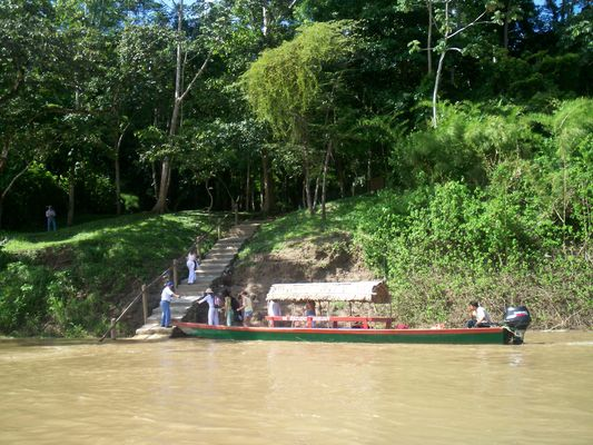 on boat lancha at Usumacinta river to Yaxchilan