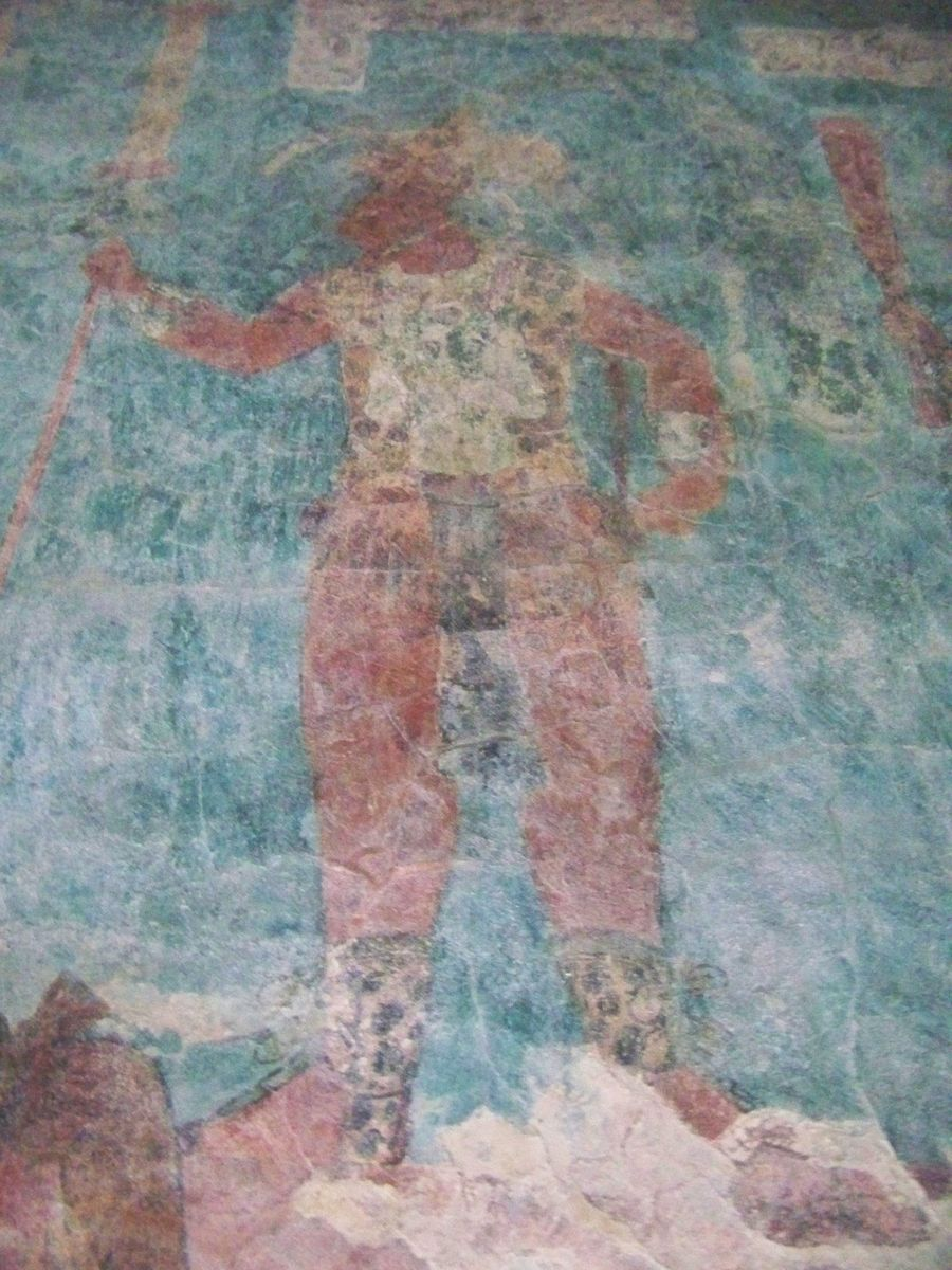 colorful painting of Governor Chan Moan - Chaan Muwaan II of Bonampak - Temple of the Murals