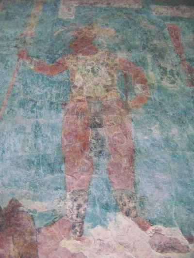 colourful painting of Governor Chan Moan - Chaan Muwaan II of Bonampak -  Temple of the Murals